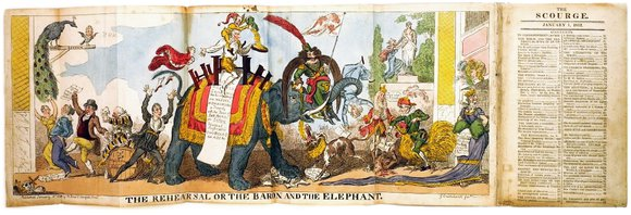 "George Cruikshank, ""The Rehearsal of The Baron and The Elephant"", from The Scourge, 1.1.1812 (Ausschnitt)"