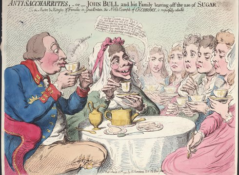 James Gillray: Anti-saccharites, - or -  John Bull and his family leaving off the use of sugar, 1851