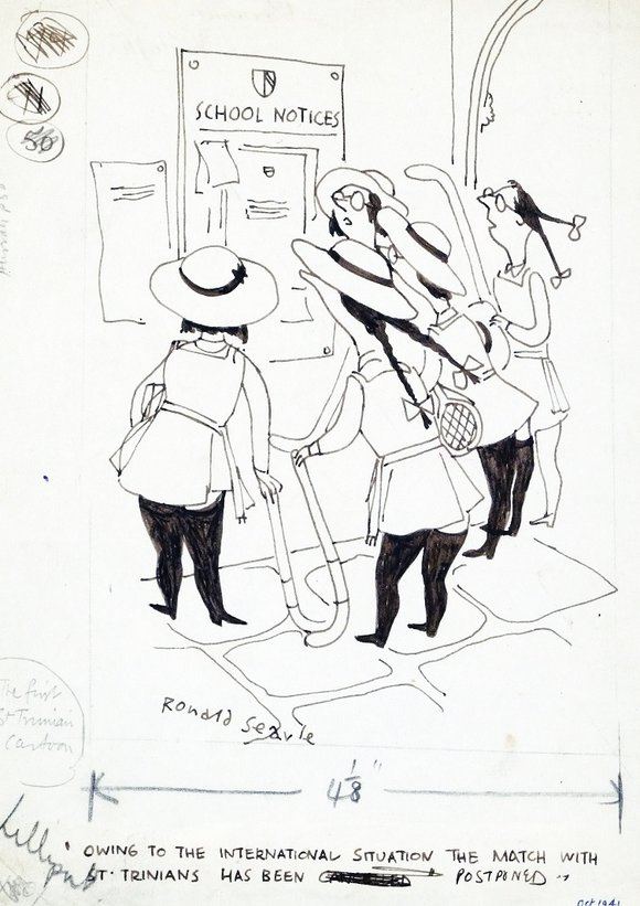 Ronald Searle, Owing to the international situation the match with St. Trinian's has been postponed